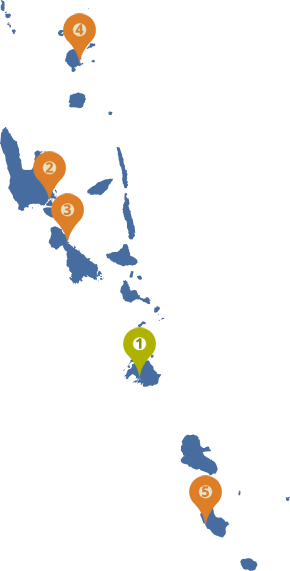 Map of Vanuatu with centres marked
