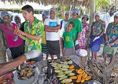 Chef Gabriel Levionnois grilling the vegetables during the Agritourism workshop, Lonnoc Bungalow, Santo