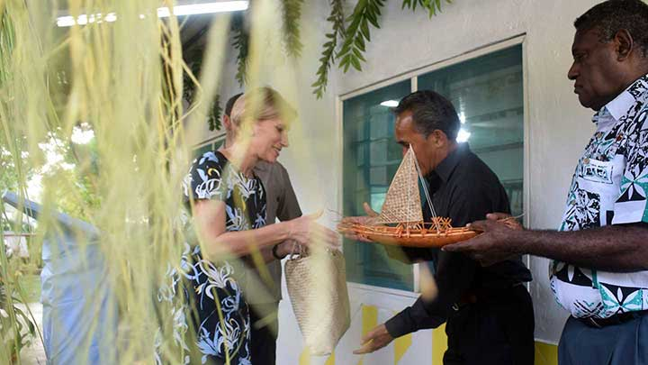 Gift Giving by SG of Malampa province during the opening of the Malampa Handicraft Centre to the Australian High Commissioner