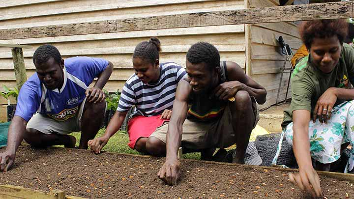 TVET students learning how to sow seeds in Vanuatu