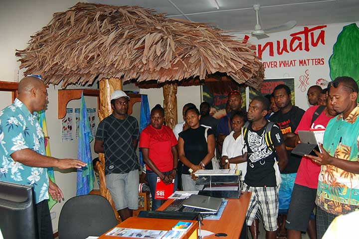Students learning tourism skills
