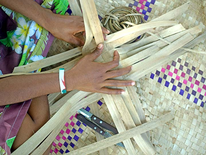 Starting the weaving process for making bags
