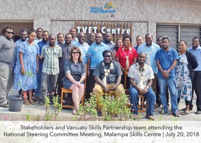 Stakeholders and Vanuatu Skills Partnership team attending the Steering Committee Meeting