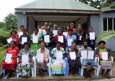 Accomodation Service graduates receiving their Certificate of Attendance at Entani Kampani, Tanna