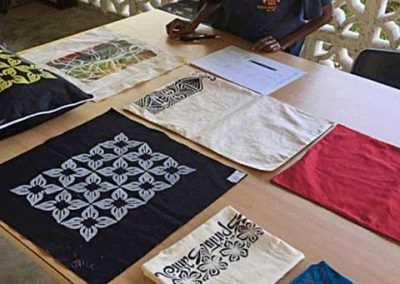 Ms Ailine displaying her textile skills development in Luganville, Santo