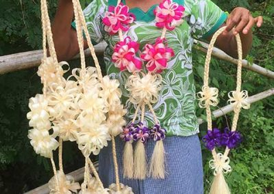 Ms Miriam Jeremiah from Malampa Handicraft with her Burao Salusalus