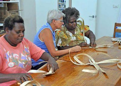Weavers in christmas decoration training session, Malampa, Malekula