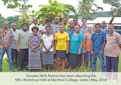 MEL workshop with Centre Managers in Santo